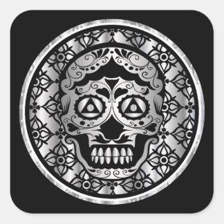 Printed metallic silver effect sugar skull style o square sticker