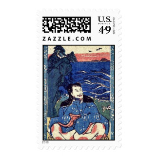Printed miniature scroll painting of Sugawara Mich Postage Stamps