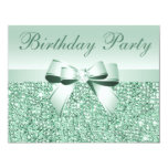 "Printed Mint Green Sequins, Bow & Diamond Birthday 4.25"" X 5.5"" Invitation Card"