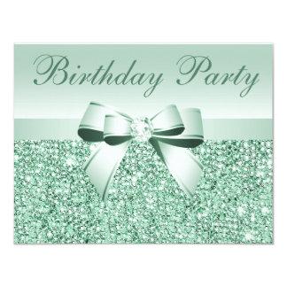 Printed Mint Green Sequins, Bow & Diamond Birthday 4.25x5.5 Paper Invitation Card
