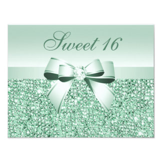 Printed Mint Green Sequins, Bow & Diamond Sweet 16 Card