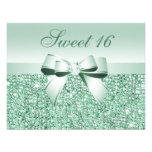 Printed Mint Green Sequins, Bow & Diamond Sweet 16 Announcement