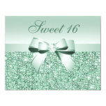 "Printed Mint Green Sequins, Bow & Diamond Sweet 16 4.25"" X 5.5"" Invitation Card"