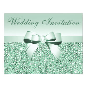 Printed Mint Green Sequins, Bow & Diamond Wedding 4.25x5.5 Paper Invitation Card