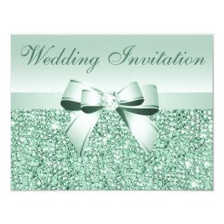 Printed Mint Green Sequins, Bow & Diamond Wedding Custom Invites