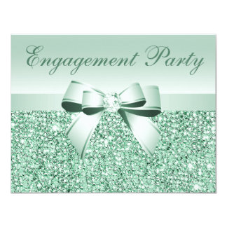 Printed Mint Sequins, Bow & Diamond Engagement Card