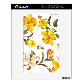 Printed model yellow flowers decals for the NOOK color