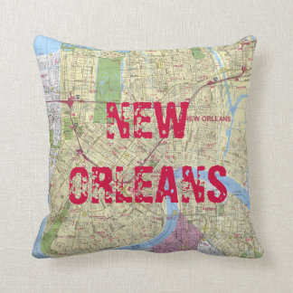 Printed: New Orleans Map Throw Pillow