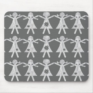 Printed Paper Chain Dolls Mouse Pad