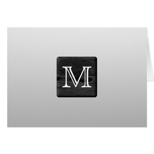 Printed Pattern and Custom Letter. Black and White Card