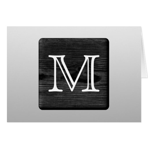 Printed Pattern and Custom Letter. Black and White Greeting Card