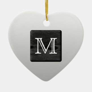 Printed Pattern and Custom Letter. Black and White Ceramic Ornament