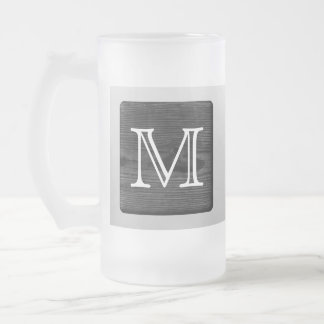 Printed Pattern and Custom Letter. Black and White Frosted Glass Beer Mug