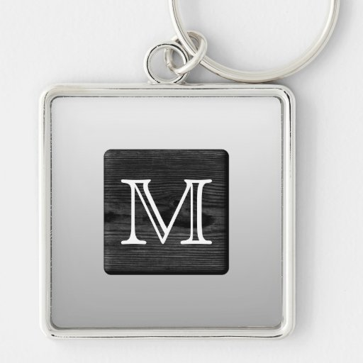 Printed Pattern and Custom Letter. Black and White Key Chain