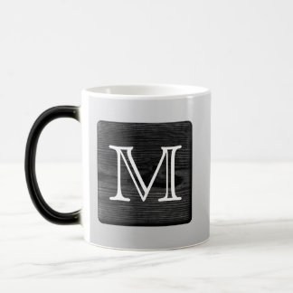 Printed Pattern and Custom Letter. Black and White Magic Mug