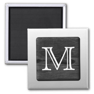 Printed Pattern and Custom Letter. Black and White Refrigerator Magnet