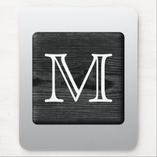 Printed Pattern and Custom Letter. Black and White Mouse Pad