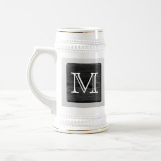 Printed Pattern and Custom Letter. Black and White 18 Oz Beer Stein