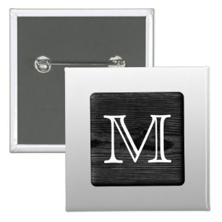 Printed Pattern and Custom Letter. Black and White Pinback Button