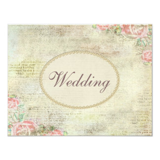 Printed Pearls & Lace Shabby Chic Roses Wedding Personalized Invite