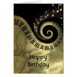 Printed  Piano Keys and Gold Music Notes Card