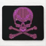 Printed Pink Rhinestone Skull & Crossbones Mousemat