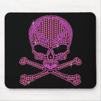 Printed Pink Rhinestone Skull & Crossbones Mouse Pad