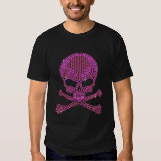 Printed Pink Rhinestone Skull & Crossbones T-Shirt