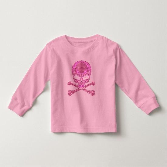 Printed Pink Rhinestone Skull & Crossbones Toddler T-shirt