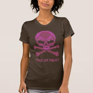 Printed Pink Rhinestone Skull & Crossbones Shirts