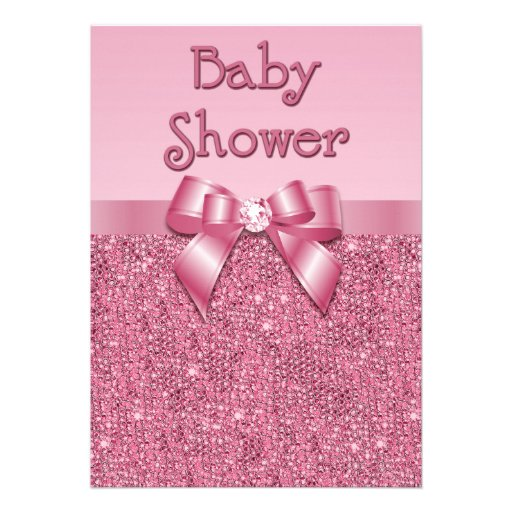 Printed Pink Sequins and Bow Girls Baby Shower Personalized Announcement