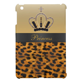 Printed Princess Crown & Leopard Print iPad Mini Case