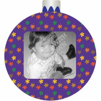 Printed Purple Christmas Ball Ornament Photo Frame