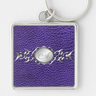 PRINTED Purple Croc and Pewter Monogram Keychain