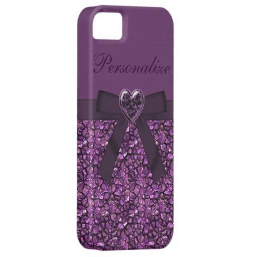 Printed Purple Gem Stones & Heart Jewel iPhone 5 Cover