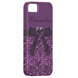 Printed Purple Gem Stones & Heart Jewel iPhone SE/5/5s Case
