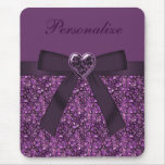 Printed Purple Gem Stones & Heart Jewel Mouse Pad