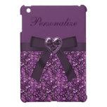 Printed Purple Gem Stones & Heart Jewel Print iPad Mini Case
