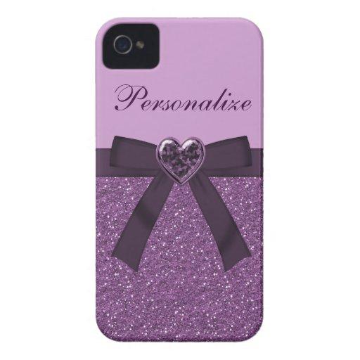 Printed Purple Glitter, Bow & Heart Jewel Case-Mate iPhone 4 Case