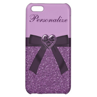 Printed Purple Glitter, Bow & Heart Jewel Cover For iPhone 5C