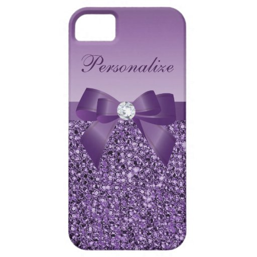 Printed Purple Sequins, Bow & Diamond iPhone 5 Case