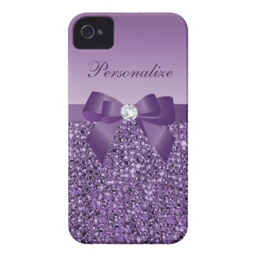 Printed Purple Sequins, Bow & Diamond iPhone 4 Cases