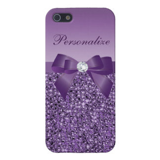 Printed Purple Sequins, Bow & Diamond Cover For iPhone 5
