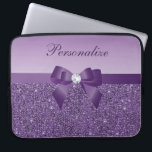 "Printed Purple Sequins, Bow &amp; Diamond Laptop Sleeve<br><div class=""desc"">Elegant personalized girly purple case with a beautiful printed purple sequins pattern, a cute printed purple ribbon and pretty printed diamond bling jewel. Personalize it with your own name. A trendy, glamorous gift for her - women and girls will love this fashionable purple case. Please note: All cases on the...</div>"