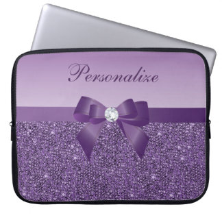 Printed Purple Sequins, Bow & Diamond Laptop Sleeve