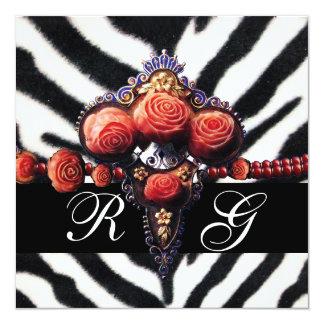 PRINTED RED CORAL ROSES , BLACK WHITE ZEBRA SKIN CARD