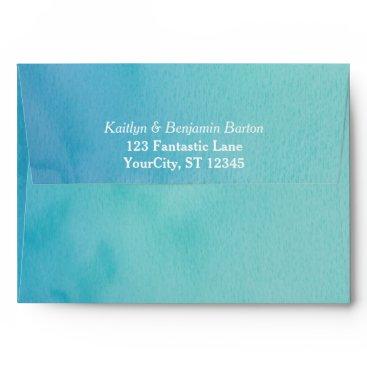 Beach Themed Printed Return Address TealBlue Watercolor Wedding Envelope