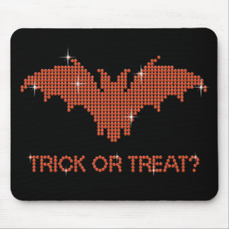Printed Rhinestone Bat Trick or Treat Mouse Pad