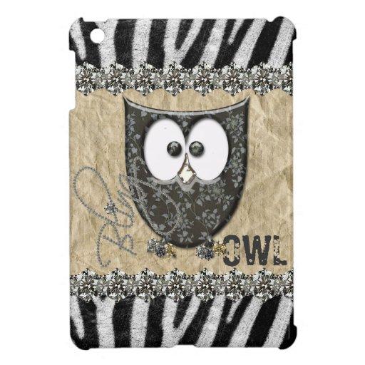 Printed Rhinestone Bling Owl Zebra Personalized Case For The iPad Mini