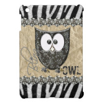 Printed Rhinestone Bling Owl Zebra Personalized iPad Mini Cover